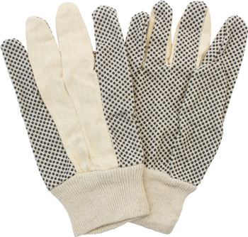 Picture of item 965-858 a Cotton Polyester Canvas Clute Cut with Knit Wrist & PVC Dotted Grip. Mens Large. 12 pair.