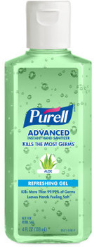 Picture of item 670-158 a PURELL® Advanced Hand Sanitizer Aloe Gel. 4 fl oz Portable Flip Cap Bottle. 24 Bottles/Case.