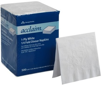 "Picture of item 226-109 a Acclaim® 1 Ply 1/4 Fold Paper Dinner Napkins.  16"" x 16"".  White Color.  500 Napkins/Sleeve."