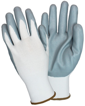 Picture of item 963-034 a Foam Nitrile Coated Knit Gloves. Size Extra Large. Gray/White. 12 pair.