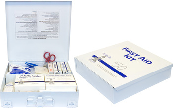 Picture of item 968-948 a First Aid Kit. 50 Person Metal First Aid Kit with Wall Mountable Clips.