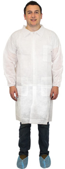 Picture of item 973-730 a Lab Coat.  X-Large.  Disposable White Polypropylene Lab Coat.  3 Pockets, Elastic Wrists.